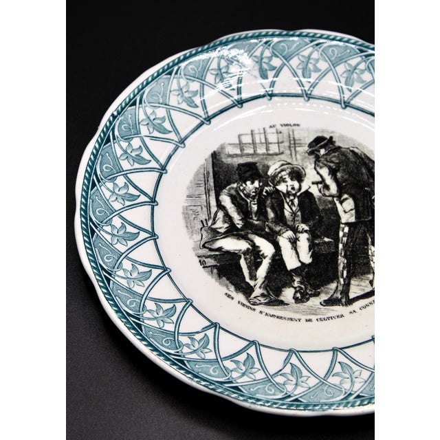 """Sarraguemines Early 20th Century French Plate """"Au Violon"""" For Sale - Image 4 of 10"""
