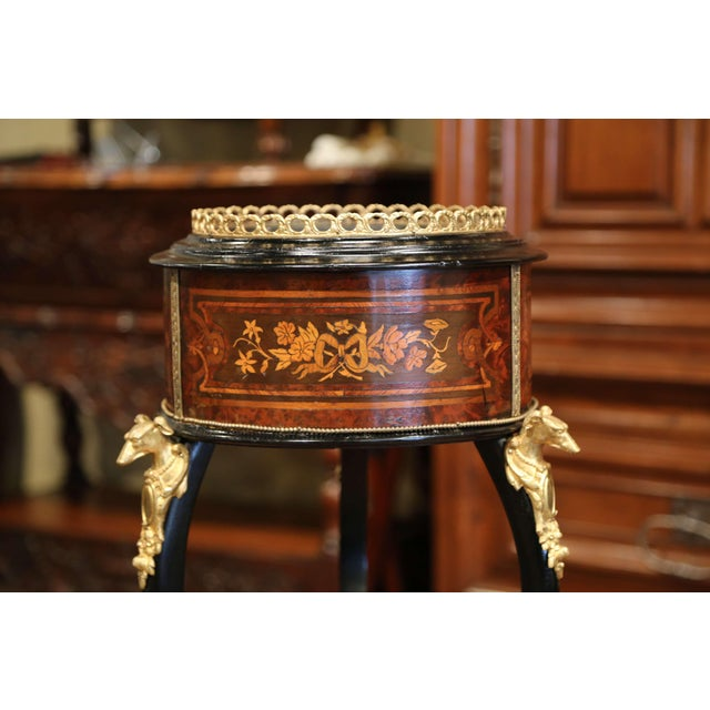 French 19th Century, French Napoleon III Inlay Rosewood Plant Stand With Brass Mounts For Sale - Image 3 of 9