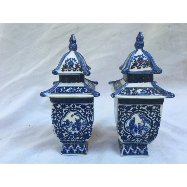 Blue & White Lidded Pagoda Vases - A Pair - Image 2 of 9