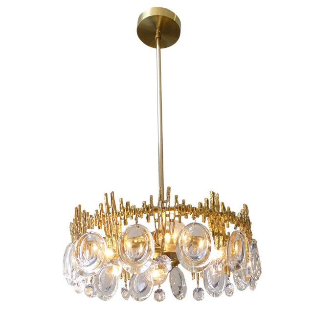 Gilt Brass & Crystal Brutalist Ceiling Fixture by Palwa For Sale In San Francisco - Image 6 of 6