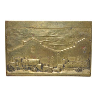 Opening of the Central Municipal Garage of Buenos Aires Bronze Plaque c.1926 For Sale