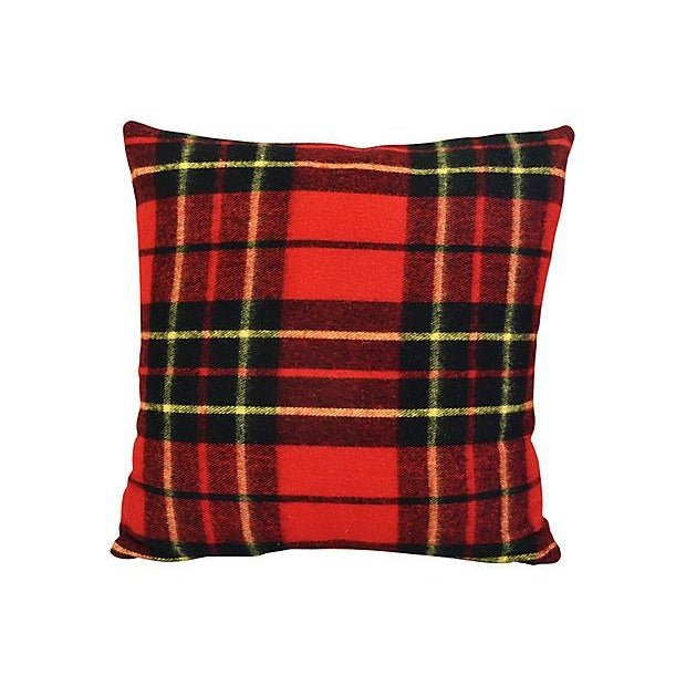 Pair of large custom-tailored pillows created from a vintage professionally laundered/dry cleaned 100% wool Scottish...
