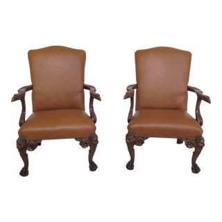 Maitland Smith Eagle Carved Arm Leather Library Chairs- A Pair For Sale