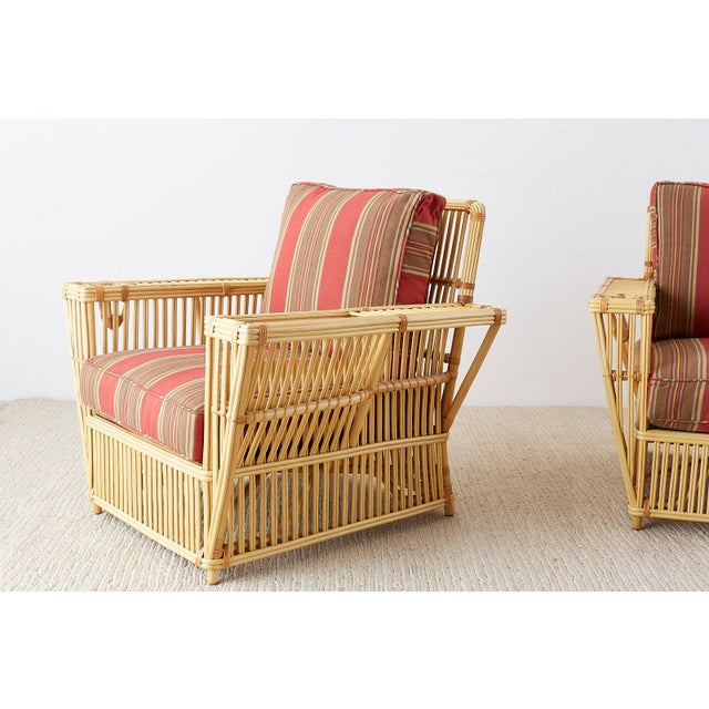 Pair of Bielecky Stick Wicker Rattan President Lounge Chairs For Sale - Image 9 of 13