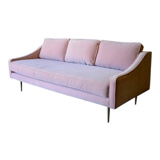 Pale Pink Mid Century Modern Velvet Sofa For Sale