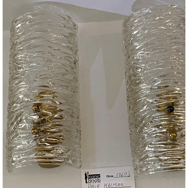 Mid-Century Modern Kalmar Glass Sconces - a Pair For Sale In West Palm - Image 6 of 9