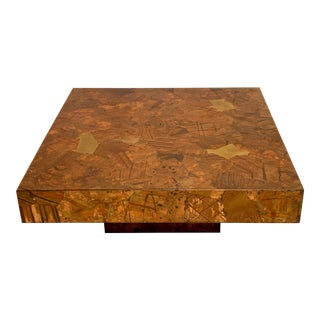 Modern Paul Evans Style Patchwork Coffee Table For Sale