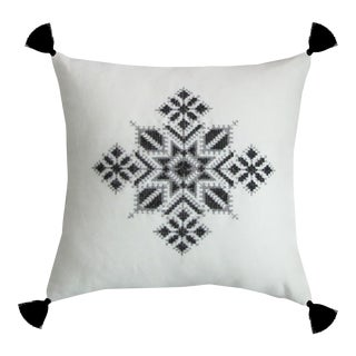 Black & White Moroccan Tasseled Najma Pillow