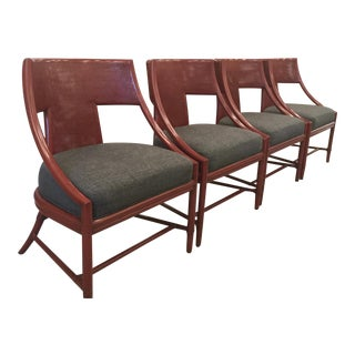 Barbara Barry Caned Chairs in Ming Red - Set of 4 For Sale