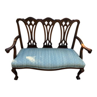 Vintage English Chippendale Style Carved Mahogany Settee For Sale