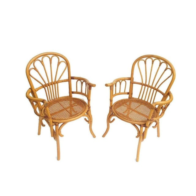 Boho Chic 1980s Vintage Bent Bamboo Arm Chairs - a Pair For Sale - Image 3 of 13
