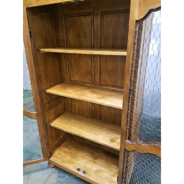 French Country French Country Chicken Wire Cupboard Hutch China Cabinet For Sale - Image 3 of 7
