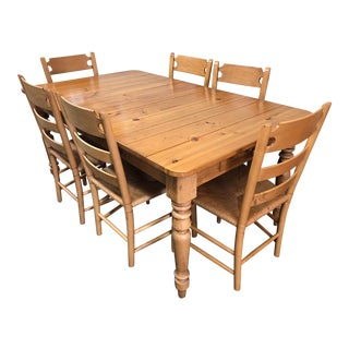 French Country Ethan Allen Pine Dining Set - 7 Pieces