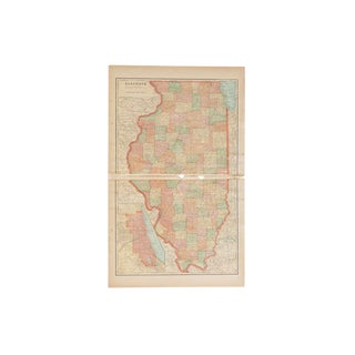 Cram's 1907 Map of Illinois For Sale