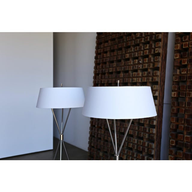 """Mid 20th Century t.h. Robsjohn Gibbings """"Tripod"""" Floor Lamps - a Pair For Sale - Image 5 of 13"""
