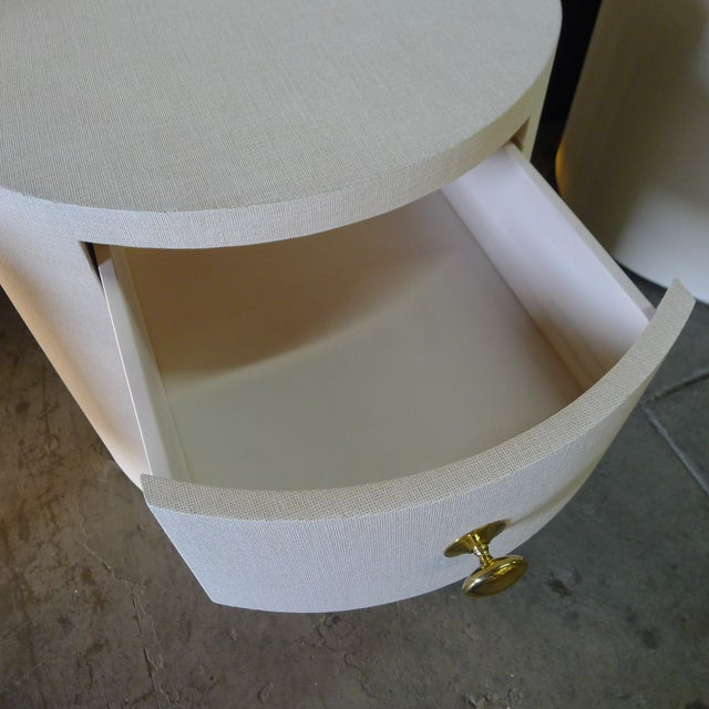 Brass Paul Marra Linen-Wrapped Round Nightstand For Sale - Image 7 of 10