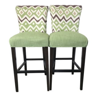Barstools Upholstered Quadrille Alan Campbell Cap Ferrat Fabric - a Pair For Sale