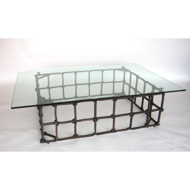 Glass Custom Rail Road Spike Coffee Table with Glass Top For Sale - Image 7 of 9