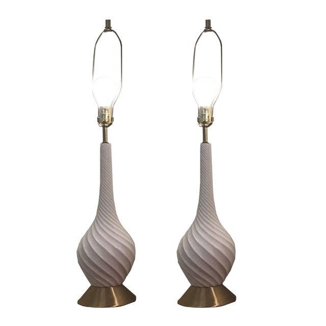 Quartite Creative Mid-Century Spiral Lamps - Pair - Image 1 of 5
