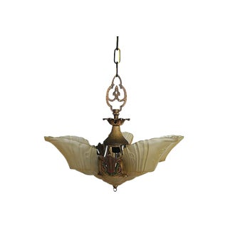 Art Deco Brass & Glass Light Fixture