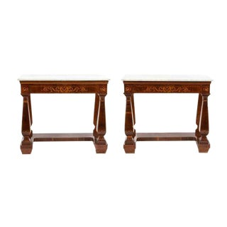 19th Century French Mahogany Marquetry Satinwood Marble Top Console Tables - a Pair For Sale