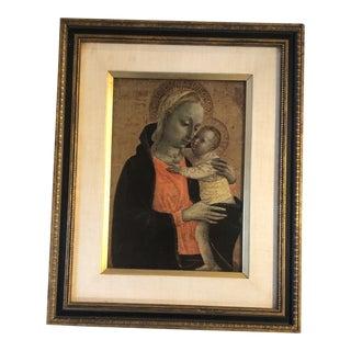 Vintage Classical Madonna & Child Print Vintage Mid Century Modern Original Frame For Sale