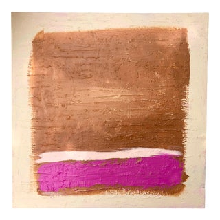 Abstract Textured Pink and Brown Painting by Virginia Chamlee For Sale