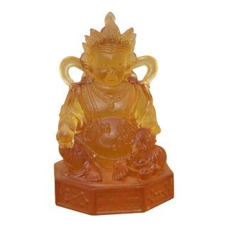Tibetan Orange Color Crystal Glass Liuli Zambala Statue For Sale