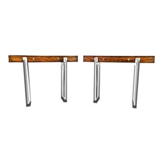 1960s Mid-Century Modern Rosewood and Chrome Console Tables - a Pair For Sale