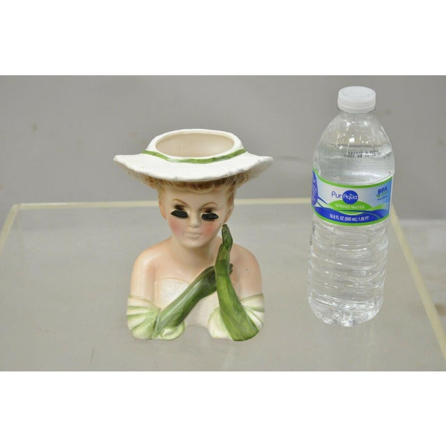 Vintage Lady Head Vase Japan 4228 Green Dress and Gloves White Hat Napco For Sale - Image 11 of 12