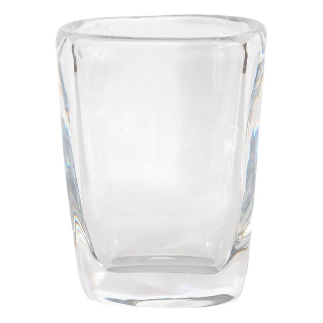 Exquisite Mid Century Modern Oblong Translucent Glass Vase By