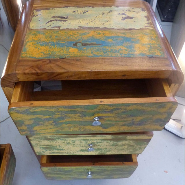 1950's Style Distressed Finish Wood Nightstands -A Pair - Image 4 of 10