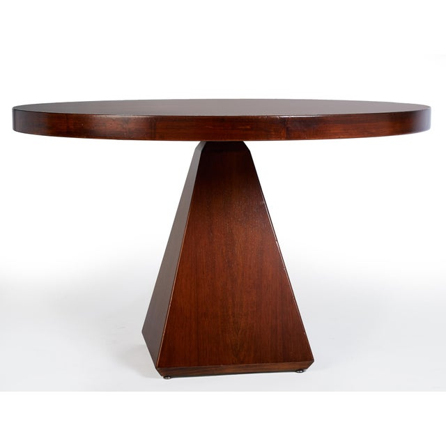 "This is a vintage Vittorio Introini (b. 1935) for Saporiti dining table. The piece displays a striking geometric ""Chelsea""..."