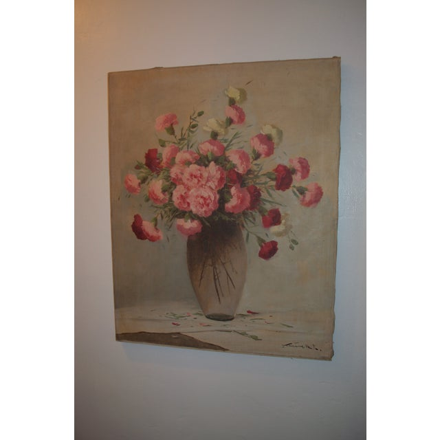 Vintage Large Carnations Floral Oil Painting - Image 3 of 8