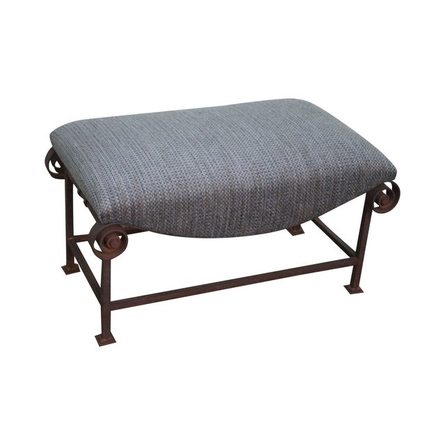 Rustic Scrolled Iron Frame Window Bench - Image 1 of 10