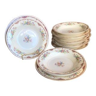 6 Sets Vintage Homer Laughlin Eggshell Nautilus Cottage Floral Bowls & Plates - 12 Pieces