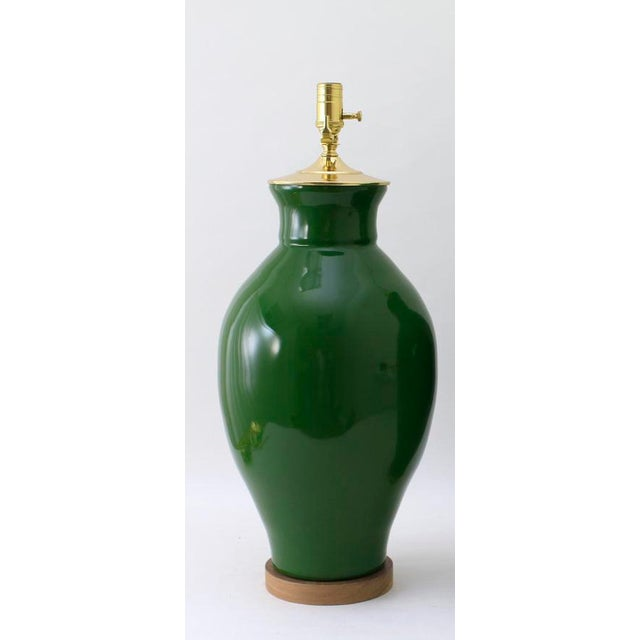 The MATAGORDA lamp is shown in our Glossy Army Green glaze. Handmade and signed by Paul Schneider. Lead time three weeks....