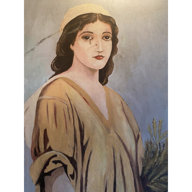 Rare with plaque and framed Ruth painting. This piece would look great in an art deco style home.