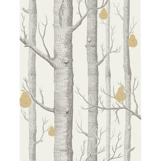 Cole & Son Woods & Pears Wallpaper Roll - Charcl/Lin/Gld For Sale