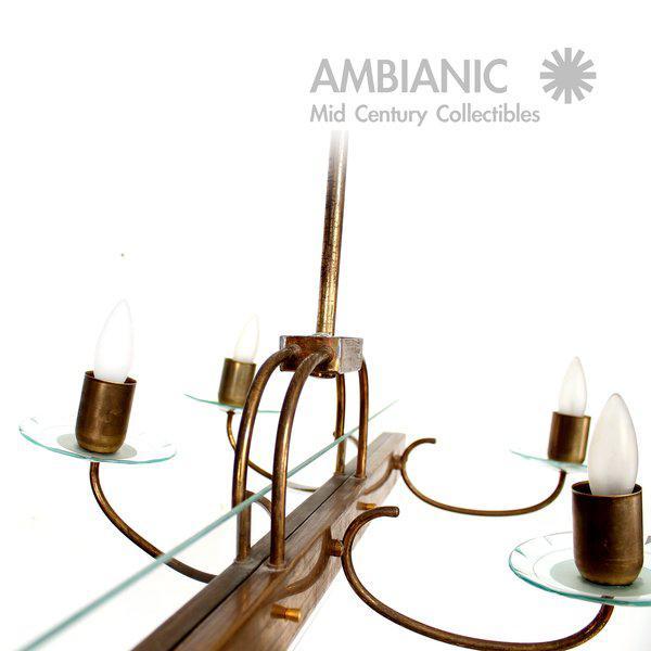 Gold Six Arm Italian Chandelier After Fontana Arte For Sale - Image 8 of 11