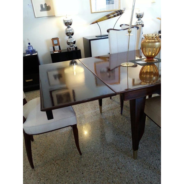 Mid-Century Modern Dining Room Table Lacquered Extension Leaves