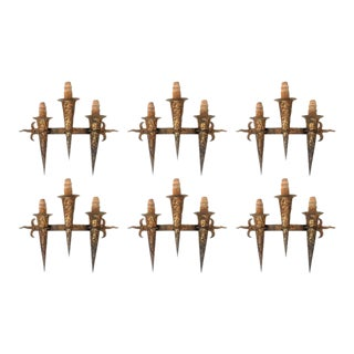 Set of Six Huge Spanish Gothic Wrought Iron and Candle Torch Sconces For Sale