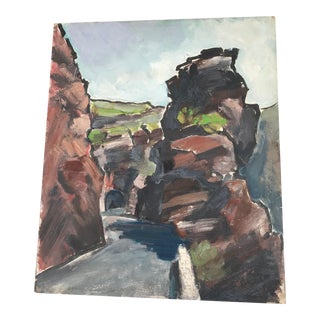 Impressionistic French Landscape of Rock Formations Painting For Sale