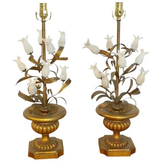 Pair of Italian Tulip Topiary Lamps For Sale