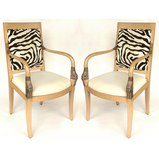 1980s Vintage Blond Wood & Zebra Print Upholstery & Dolphin Carved Armchairs- a Pair For Sale - Image 12 of 12
