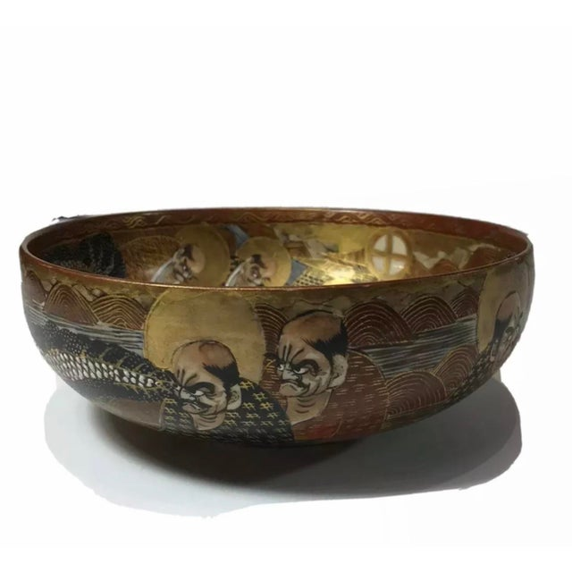 1940s Antique Japanese Satsuma Hand Painted 2 Sided Golden Porcelain Bowl For Sale - Image 13 of 13