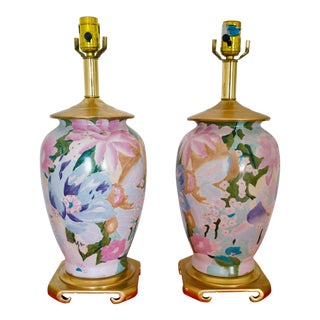 Floral Brass Base Lamps - a Pair For Sale