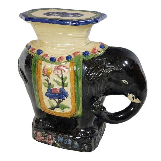 Vintage Black Ceramic Elephant Table For Sale