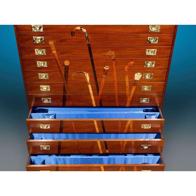Inlaid Mahogany Cane Cabinet For Sale - Image 4 of 6