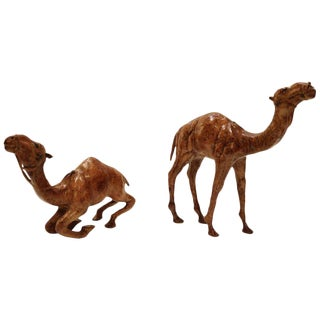 Set of Two Leather Wrapped Camel Sculptures For Sale